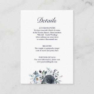 Wedding DETAILS Floral Dusty Navy Blue Enclosure Card