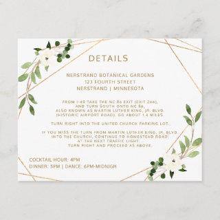Wedding Details Information Geometric Greenery Enclosure Card