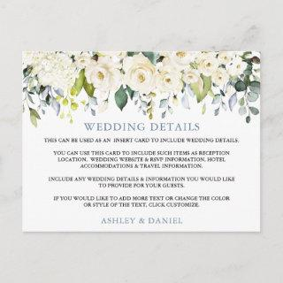 Wedding Details White Floral Dusty Blue Card