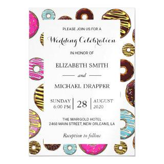 Wedding - Donut Pattern, Colorful Donuts - Pink Magnetic Invitations