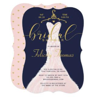 Wedding Dress Navy Gold Bridal Shower Invitations
