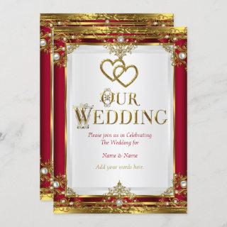 Wedding Elegant Red Gold White Golden Invitations