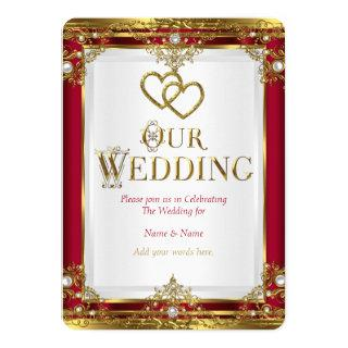 Wedding Elegant Red Gold White Golden Invitation