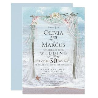 Wedding | Elegant Seaside Driftwood Tulle Arbor Invitation