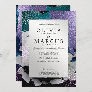 Wedding | Elegant Silver  Brush Strokes Invitations