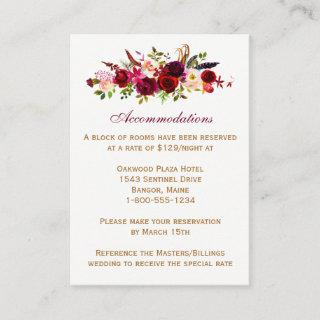 Wedding Enclosure Card - Burgundy Floral, Feathers