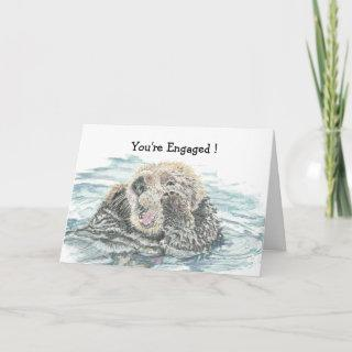 Wedding Engagement  Congrats Cute Excited Otter Card