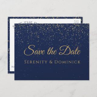 Wedding Engagement Gold Navy Blue Save The Date Postcard