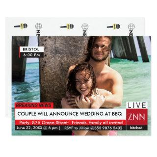 Wedding Engagement Party BBQ Breaking News Invitation