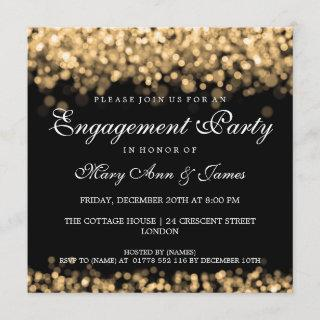 Wedding Engagement Party Gold Lights Invitations