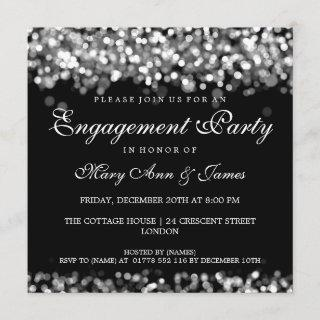 Wedding Engagement Party Silver Lights Invitation