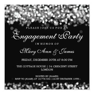 Wedding Engagement Party Silver Lights Invitations