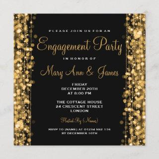 Wedding Engagement Party Sparkles Gold Invitations