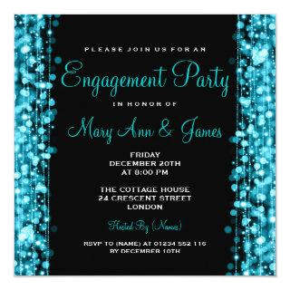 Wedding Engagement Party Sparkles Turquoise Invitations
