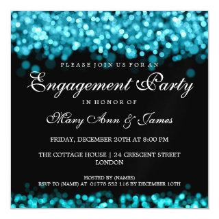 Wedding Engagement Party Turquoise Lights Magnetic Invitation