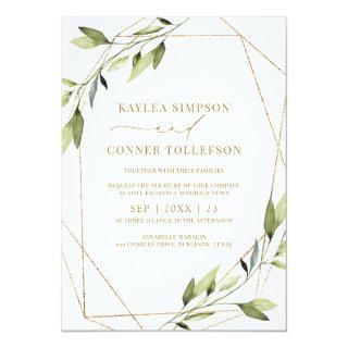 Wedding Ethereal Geometric Greenery Gold Vines Invitation