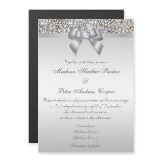 Wedding Faux Silver Sequins Bow Magnetic