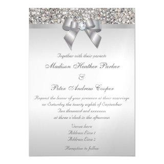 Wedding Faux Silver Sequins Bow Magnetic Invitations