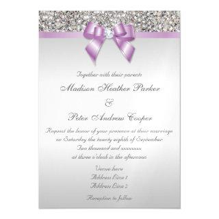 Wedding Faux Silver Sequins Lilac Bow Magnetic Invitation
