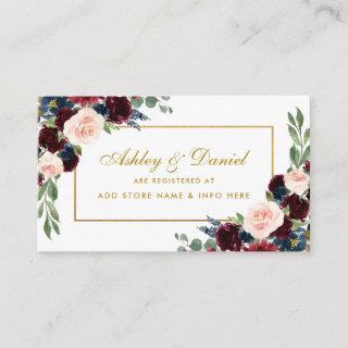 Wedding Gold Burgundy Blue Registry Insert Card BG