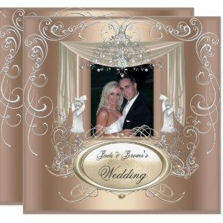 Wedding Gold Coffee Cream Silver Ornate Elegant Invitation