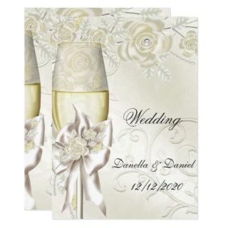 Wedding Gold Cream Pearl Floral Roses 2 Invitation