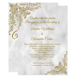 Wedding gold Marble white pearl silver Invitations