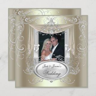 Wedding Gold Mint Silver Ornate Elegant 2 Invitations