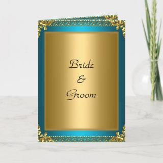 Wedding  Gold Teal Bride and Groom Invitations