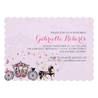 Wedding Horse & Carriage Flowers & Butterflies 2 Invitations