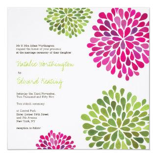 Wedding Hot Pink & Green Flower Blooms Invitations