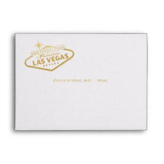 Wedding in Vegas Sign Gold Invitation Mailing Envelope