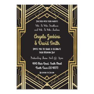 Wedding Invitation 1920's Black & Gold Art Deco