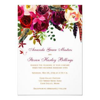 Wedding Invitations - Burgundy Floral, Feathers