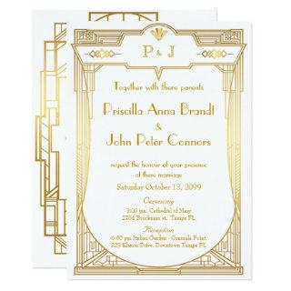 Wedding Invitations card,Great Gatsby,gold on white