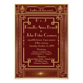 Wedding Invitations card,Great Gatsby, RED, gold