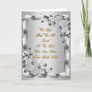 Wedding invitation card white on white orchids