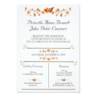 Wedding Invitations Ceremony, Fall Leaves Theme