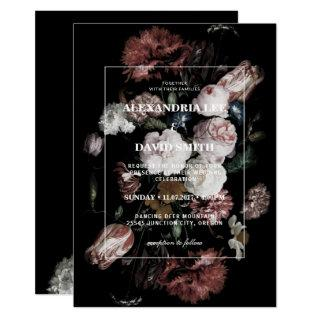 Wedding Invitation Dark Black Moody Floral