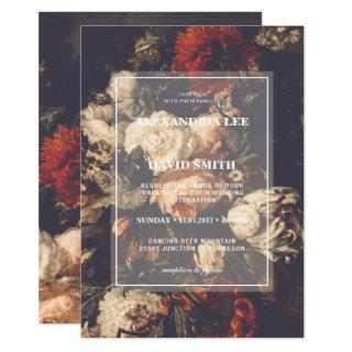 Wedding Invitation Dark Moody Autumn Fall Floral