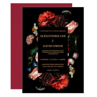 Wedding Invitation Dark Red Floral Black