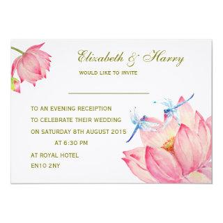 Wedding Invitations Pink Lotus & Blue Dragon flies
