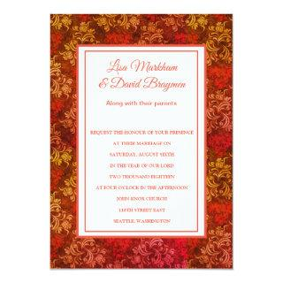 Wedding Invitation Tangerine Brocade