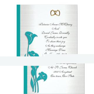 Wedding Invitation turquoise calla lily