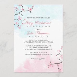Wedding Invitation | Watercolor Cherry Blossom