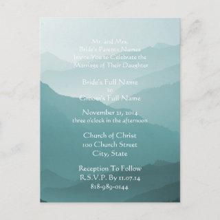 Wedding Invitation White On Misty SeaBlue