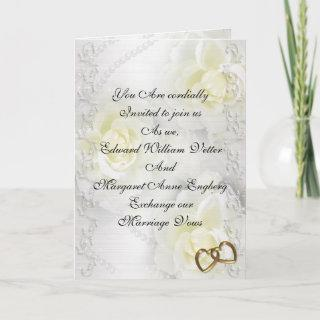 Wedding Invitations white roses and pearls