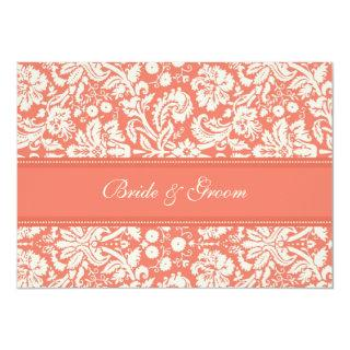 Wedding Invitations Coral Cream Damask