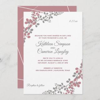 Wedding Invitations Dusty Rose Baby's Breath
