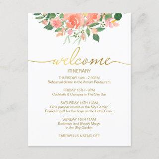 Wedding Itinerary welcome card, gold & pink roses Enclosure Card
